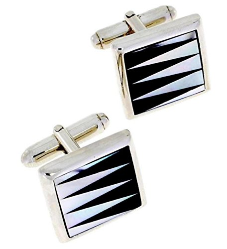 Genuine Elegant Zig Zag Mother Of Pearl & Onyx In 925 Sterling Silver Cufflinks.