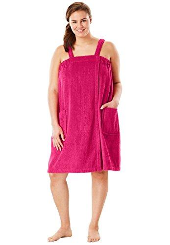 Dreams & Co. Women's Plus Size Terry Towel Wrap Pink Burst,22/24