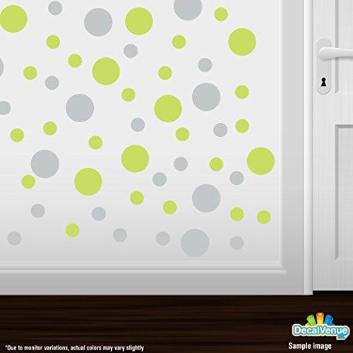 Set of 30 - Circles Polka Dots Vinyl Wall Decals (Light Grey/Chartreuse)