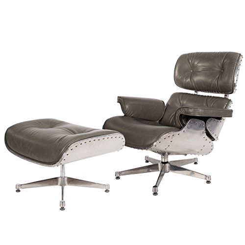 Modern Mid Century Classic Aluminum Aviator Lounge Chair & Ottoman With Premium Grey Wax PU Leather Classic Plywood Style Design Replica (Aluminum Lounge / (Butterfly Chair Base)