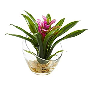 Artificial Flowers -8 Inch Purple Tropical Bromeliad in Angled Vase Silk Flowers 46