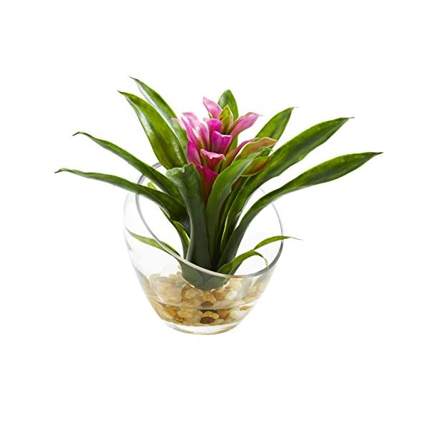 Artificial Flowers -8 Inch Purple Tropical Bromeliad in Angled Vase Silk Flowers