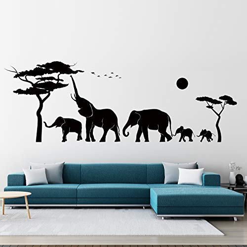 VODOE Elephant Wall Decal, Nursery Wall Decals, African Tropical Forest Wild Animal Jungle Safari Childrens Stickers Suitable for Family Living Vinyl Art Home Decor(Black 41.3 X 14.1inches)