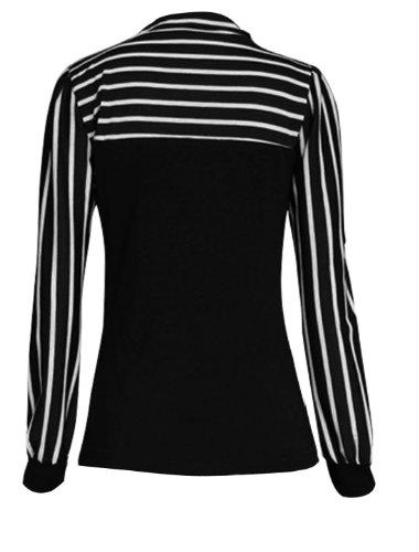 Allegra K Women's Self Tie Knot Stand Collar Striped Autumn Shirt