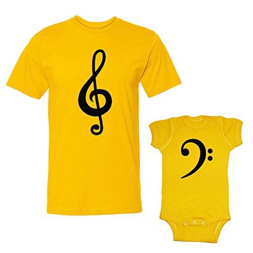 Bass Xl Set (We Match! Bass Clef & Treble Clef Adult T-Shirt & Baby Bodysuit Set (24 Months Bodysuit, Adult T-Shirt XL, Gold))