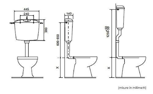 Dimensione Tubo Scarico Wc.Cassetta Di Scarico Per Bagno Wc Vaso A Zaino In Pvc Esterna
