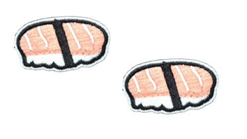 2 small pieces NIGIRI SUSHI Iron On Patch Fabric Applique Oriental Rice Japanese Food Motif Children Scrapbooking Decal 1.7 x 1 inches (4.3 x 2.5 cm) ()