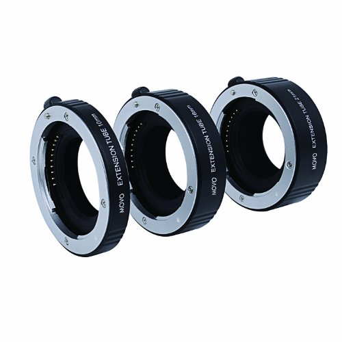 Movo Photo AF Macro Extension Tube Set for Sony E-Mount (NEX) Mirrorless Camera System with 10mm, 16mm and 21mm Tubes (Metal Mount)