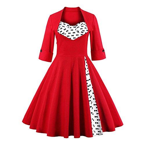 Pinkyee - Vestido - trapecio - para mujer Red Bow