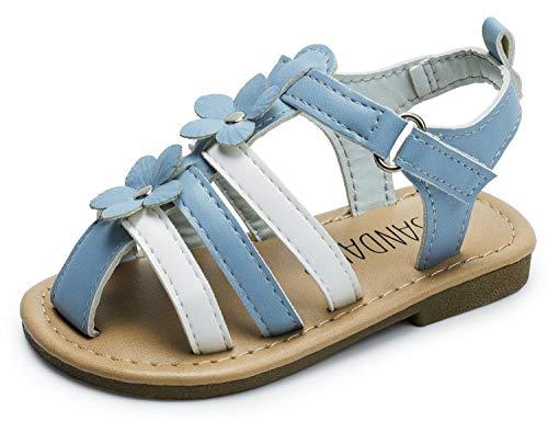 Girls Sandals Blue Strappy (SANDALUP Boys & Girls Flat Sandals for Toddler/Little Kid Summer Shoes Blue Toddler 07)