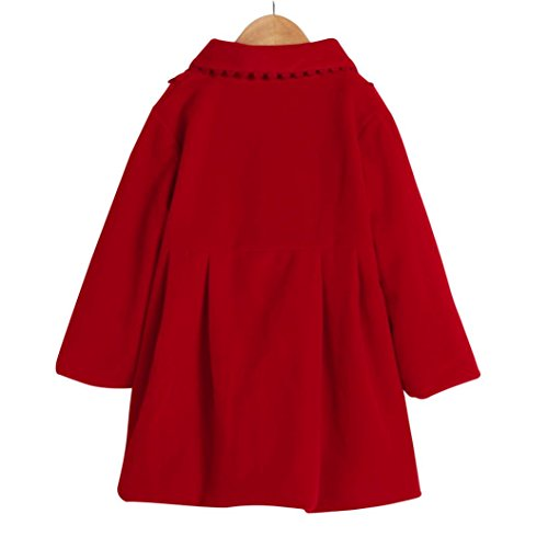 TiTCool Toddler Baby Girls Autumn Winter Cloak Jacket Bow Overcoat Thick Warm Clothes (4T, Red) by TiTCool (Image #1)