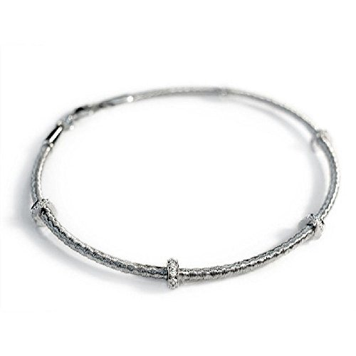 Pave-Set Roundel Diamonds 14k White Gold Single-Strand Hand Mesh Bracelet - 7