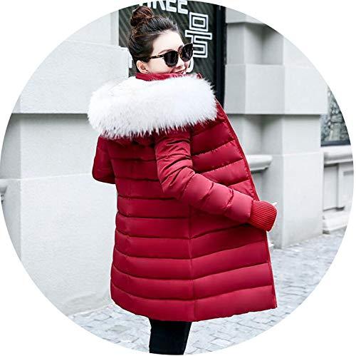 Parkas Women Down Jacket Winter Jacket Women Thick Snow Wear Winter Coat,Wine red 2,XL