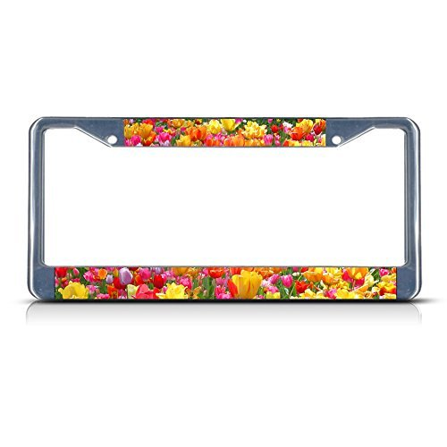 Chrome Frame Tulip (License Plate Frame TULIP FLOWERS Chrome Metal Tag Holder)