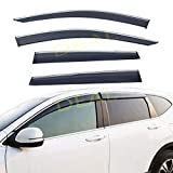 DEAL 4-Piece Set Outside Mount Tape On/Clip On Type Smoke Tinted Sun/Rain Guard Vent Window Visors With Chrome Trim For 2017-2020 Honda CR-V All Models