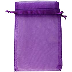 "Equal Sign 50PCS 8x12""Organza Drawstring Pouches Jewelry Party Wedding Favor Gift Bags (Dark purple)"