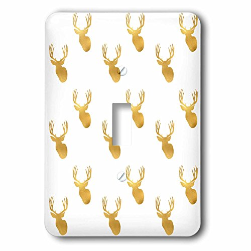 3dRose PS Animals - Image of Gold Glitz Deer - Light Switch Covers - single toggle switch (lsp_274218_1)