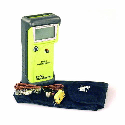 TPI 340/C1 Water Resistant, Single Input, K-Type Thermocouple Thermometer with Tilt Stand Boot, Soft Pouch, and Temperature Probe with Sub-mini Connection, -40 to 650 Degrees C, -40 to 1200 Degrees F, Accuracy of + or - 1% of Reading Plus 4 Degrees F