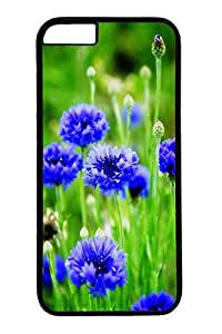 iPhone 6 Plus Case, Customized Slim Protective Hard PC Black Case Cover for Apple iPhone 6 Plus(5.5 inch)- Spring Bule Flowers