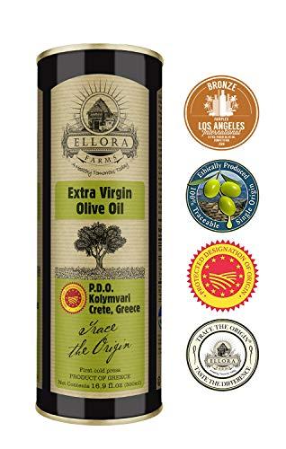 Ellora Farms | Single Estate (Kolymvari) Extra Virgin Olive Oil | Cold Pressed & Traceable | Certified PDO Koroneiki Olives, Crete, Greece | Kosher OU | BPA Free 17 Oz Tin ()