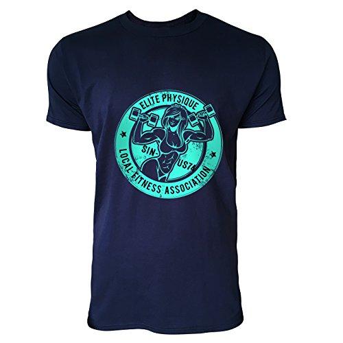 SINUS ART® Bodybuilder Frau mit Hanteln im Retro Stil Herren T-Shirts in Navy Blau Fun Shirt mit tollen Aufdruck