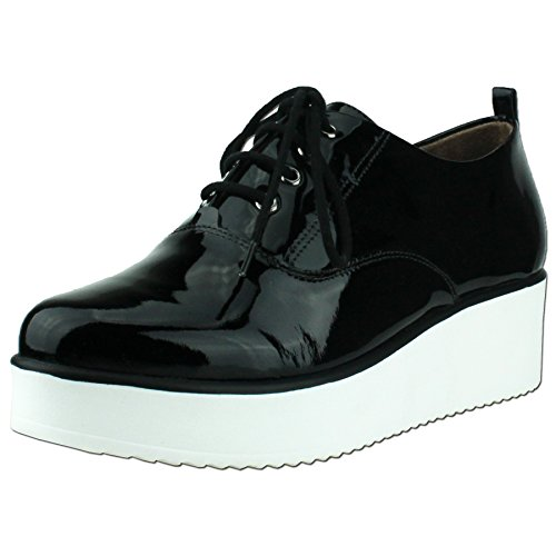 Bruno Menegatti Patent Lace up Sneakers Black sQrsIP
