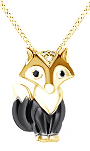 Black and White Natural Diamond Accent Fox Pendant Necklace in 14K Yellow Gold Over Sterling (Fox Yellow Pendant)