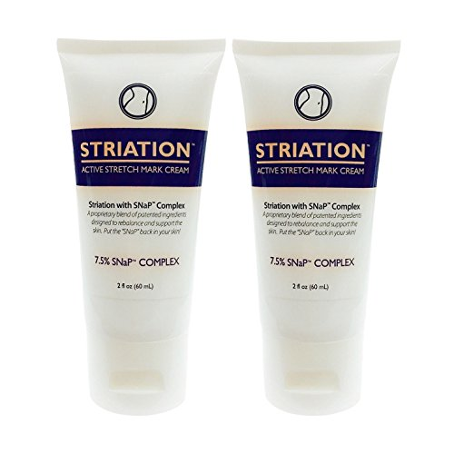 STRIATION ACTIVE STRETCH MARK CREAM (2 Pack) - Clinically Tested Patented Formula Reduces the Appearance of Stretch Marks Scars & Varicose Veins