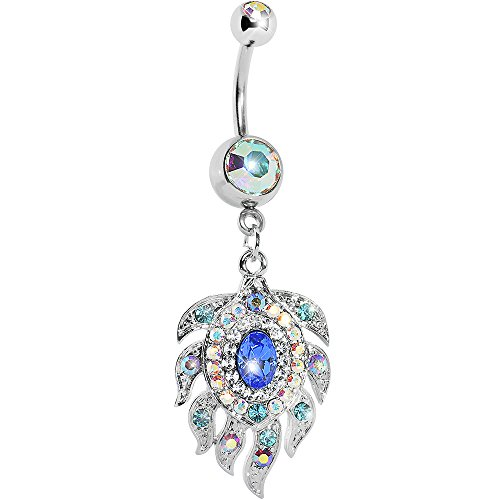 Body Candy Stainless Steel Aurora Blue Accent Peacock Feather Dangle Belly Ring
