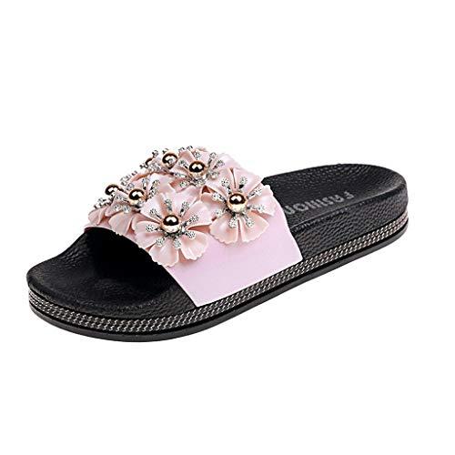 - YKARITIANNA Women's Summer Fashion Casual Flower Non-Slip Beach Slippers Sandals Shoes Pink
