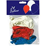 """24 x 10"""" Red, White and Blue Latex Balloons"""