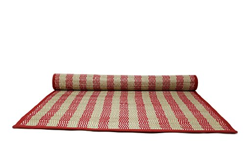 ShalinIndia Handloom Woven Eco Friendly Crimson Beige Banana Fiber Chevrom Multipurpose Travel Mat Floor Mat For Home Yoga Meditation Beach Picnic 26X72 Inch Rolled -With A Cotton Bag by ShalinIndia