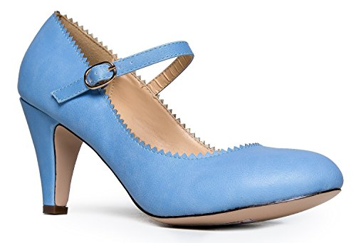 Mary Jane Kitten Heels, Vintage Retro Scallop Round Toe Shoe With An Adjustable Strap, 9 B(M) US, Serenity Blue