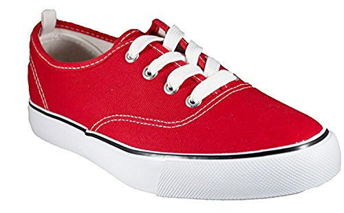 Shop Pretty Girl Damen Sneakers Casual Leinwand Schuhe Solid Farben Low Top Lace Up Flache Mode Alles rot