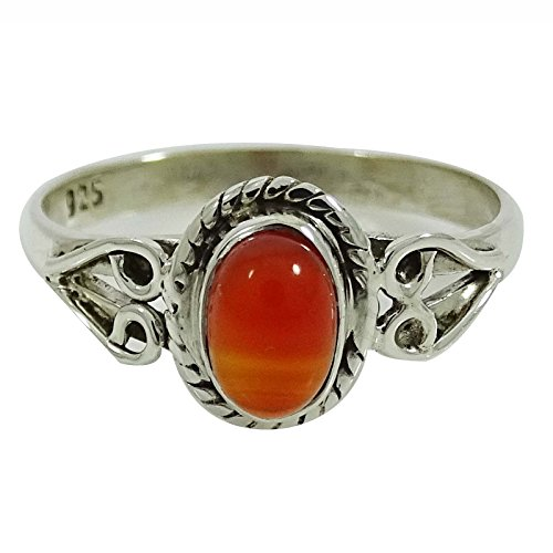 Banithani Carnelian Stone Ring 925 Sterling Silver Bridesmaid Jewelry Gift For Her