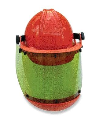 Honeywell AS1000HAT W H Salisbury Hard Cap with Ratchet Suspension, Chin Guard and AS1000 Series Arc Flash Face shield, Orange by Salibury (Image #1)