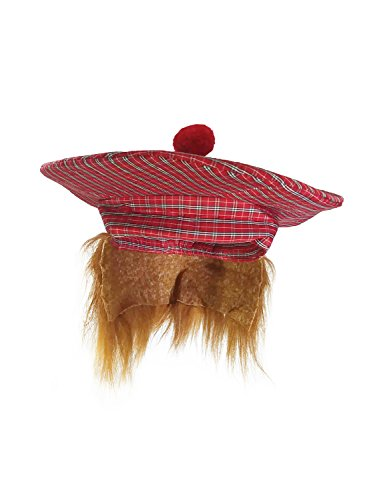 Golf Scottish Irish Tam Hat Plaid Tam O Shanter with Hair Costume Accessory -