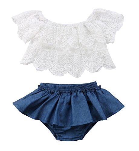 Qiylii 2PCS Baby Girl Lace T-Shirts Tops+Shorts Pants Tutu Skirt Kid Summer Clothes (12-18 Months)