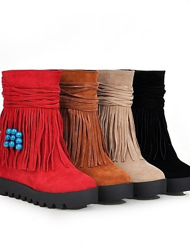 en Plateforme Mode pour Bottes décontracté Polaire Chaussons à Femme Rond red Chaussures Chaussons Citior Bout Talon pour Femme compensé Bottes 0PqSnRw