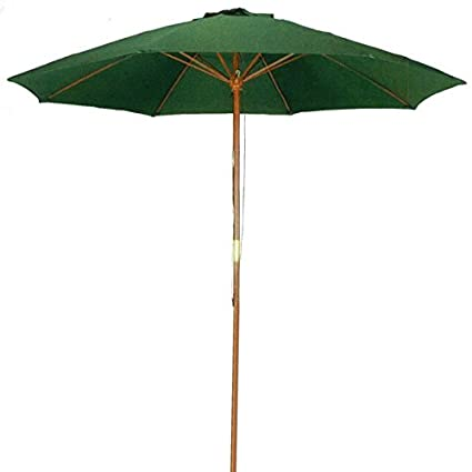 Bon 9 Ft Hunter Green Patio Umbrella   Outdoor Wood Market Umbrella Product  SKU: UB50021