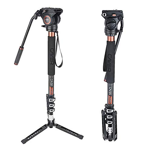 Cayer CF34 Video Monopod Kit, 71 inch Carbon Fiber Camera Monopod with Pan Tilt Fluid Head and Tripod Feet for DSLR Video Cameras Camcorders, Plus 1 Extra Sliding Plate
