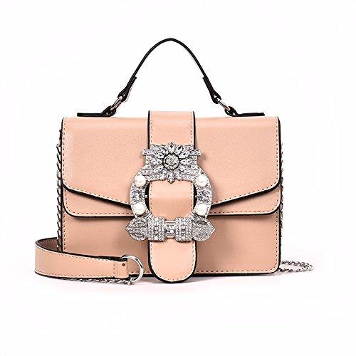Mujer Solo Bolsa Perlas Con Wjpdelp Bolsos Mano Inclinado Khaki Hombro De Un elegante 1xnnRvEqS