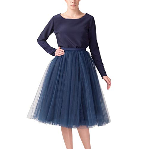 WDPL Women's A-line Layered Short Knee Length Bridal Prom Tulle Skirt (Navy Blue, Medium)