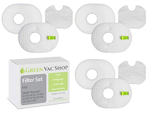 (GreenVacShop Shark Rocket HV300, HV300W, HV301, HV302, HV303, HV305, HV308, HV310, UV450 Replacement Filter Set, 6 Pre-Filters (3 Foam+3 Felt) and 3 Post-Filters, Replaces Shark Part# XFFV300)