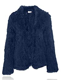 HEIZZI Natural Fur Coat Knitted Rabbit Fur Jacket Long Sleeve