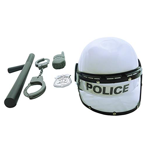 Kids Combat Police Helmet and Accessories Pretend Play Set ( White )