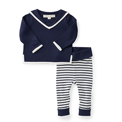 Hope & Henry Layette Navy Sailor Two Piece Sweater Set ()