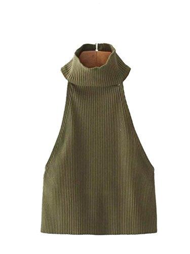 Prendas de vestir de punto simple de mujer sin mangas con cuello alto de Crop top sin espalda Army Verde