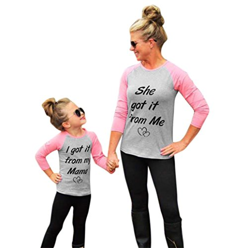 WensLTD Family Matching Clothes Mommy and Me Kids Girl Letter Print Long Sleeve T-shirt Blouse Tops (4T, Pink)