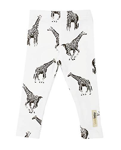 L'ovedbaby Unisex-Baby Organic Cotton Leggings (0-3 Months, White Giraffe)